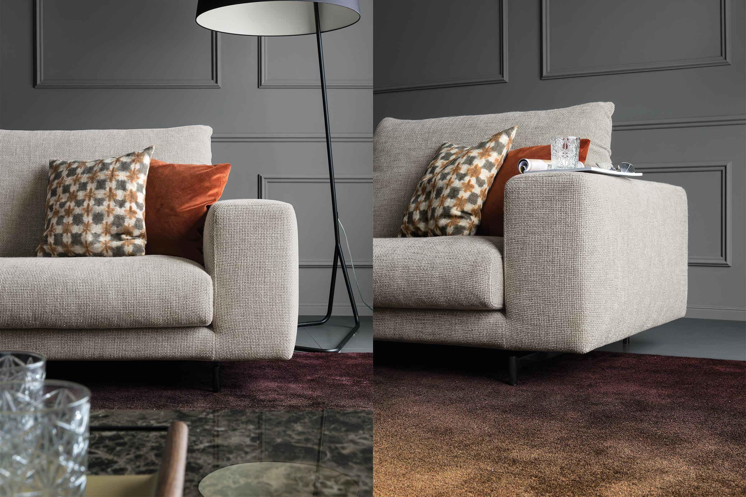 Facing Adjustable Backrest Sofa Calligaris Boca Raton