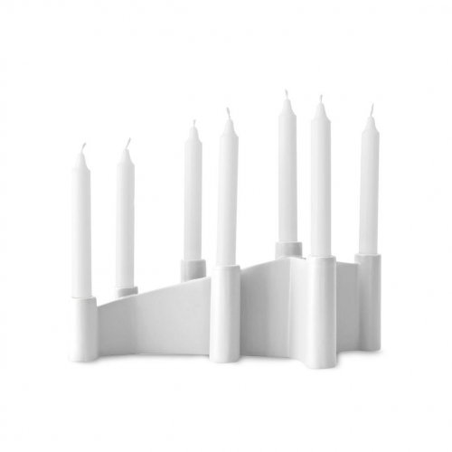 CATHEDRAL Candle holder ceramic GLOSSY WHITE