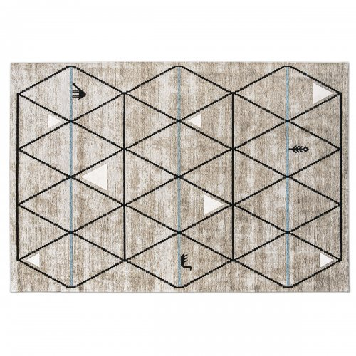 GAVA Rug chenille/cotton LIGHT GREY-BLACK/ LIGHT BLUE DECOR