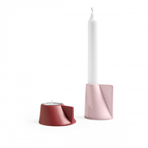 LINO Candle holder ceramic GLOSSY PALE PINK/MATT OXIDE