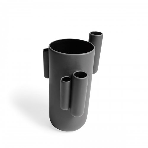 TUBINI Vase ceramic MATT SMOKE GREY
