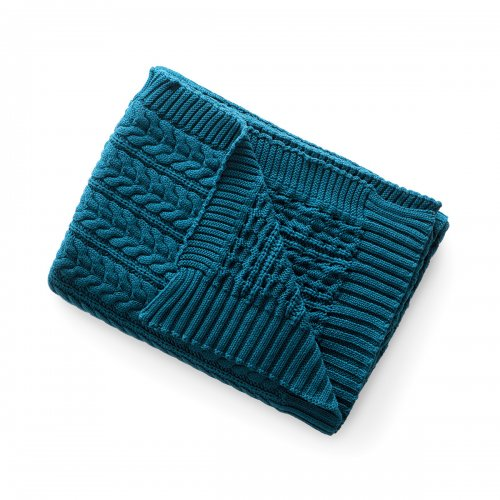 BAKER Throw cotton PETROL BLUE