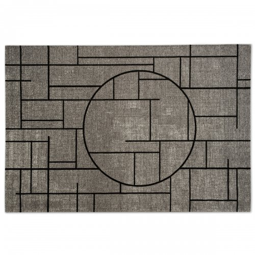 CHINESE Rug chenille/cotton GREY/BLACK