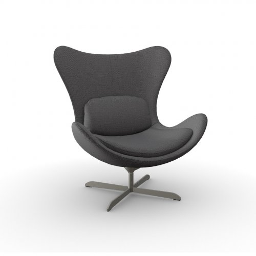 LAZY Frame P66 met. SATIN FINISHED NICKEL  Seat SQ1 Malmo ANTHRACITE GREY