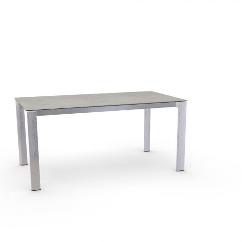 DUCA Top P5C ceramic (g) SALT WHITE  Frame P74 met. POLISHED ALUMINIUM  Legs P77 met. CHROMED