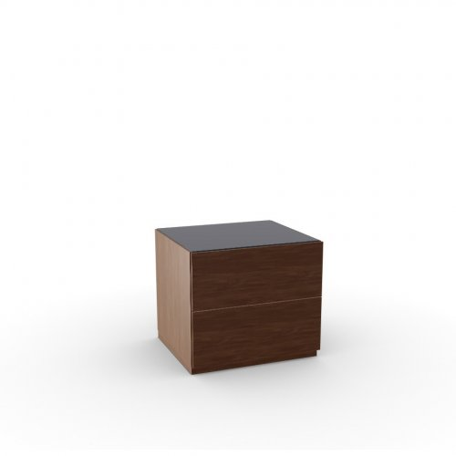 CITY Frame P201 wlnt ven. WALNUT  Drawers P201 wlnt ven. WALNUT  Top GB temp.glass FROSTED BLACK