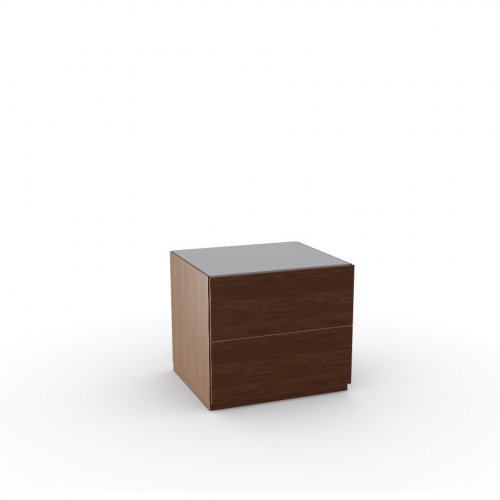 CITY Frame P201 wlnt ven. WALNUT  Drawers P201 wlnt ven. WALNUT  Top GTA temp.glass FROSTED TAUPE