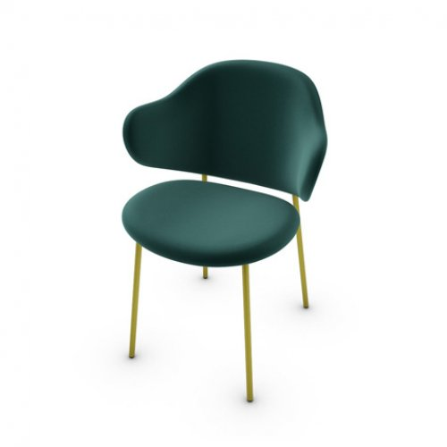 CS2037 HOLLY Frame P33L met. PAINTED BRASS Seat S0H Venice FOREST GREEN