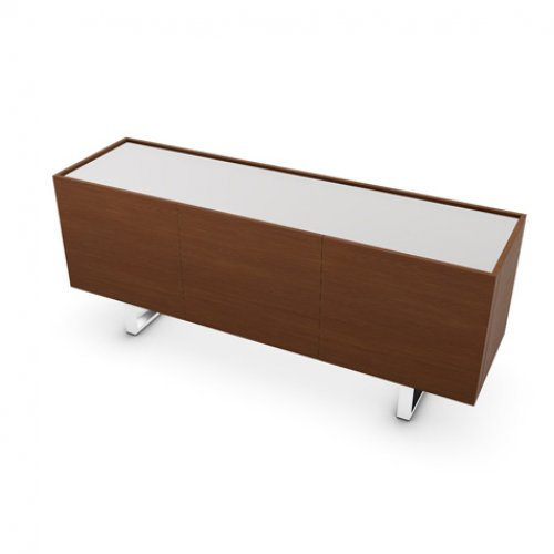 CS6017-5A HORIZON Frame P201 wlnt ven. WALNUT Top GEW temp.glass FROSTED EXTRACLEAR Base P77 met. CHROMED